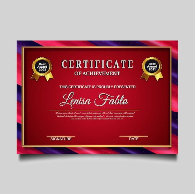 Conception de modèle de certificat de luxe