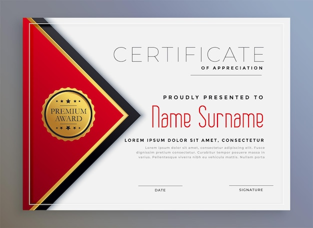 Conception de modèle de certificat moderne géométrique rouge élégant