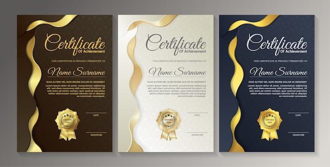 Conception de modèle de certificat noir doré premium.