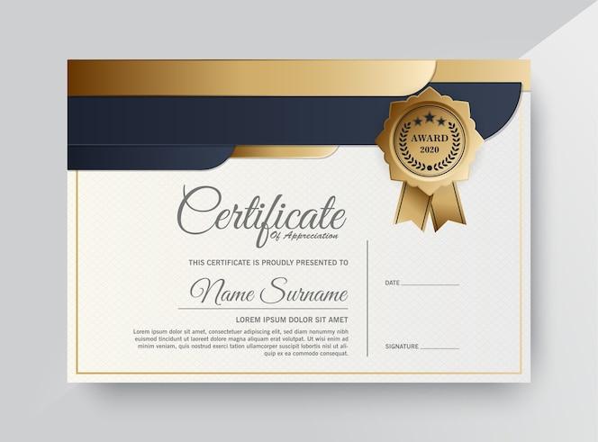 Conception de modèle de certificat noir doré premium