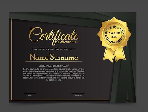 Conception De Modèle De Certificat Noir Doré. Vecteur Premium