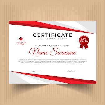 Conception de modèle de certificat rouge élégant
