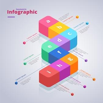 Conception de modèle de collection infographique isométrique