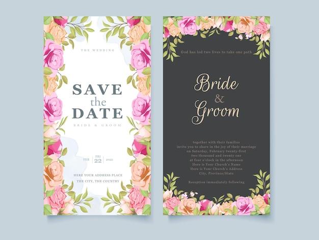 Conception de modèle de concept floral invitation de mariage de médias sociaux