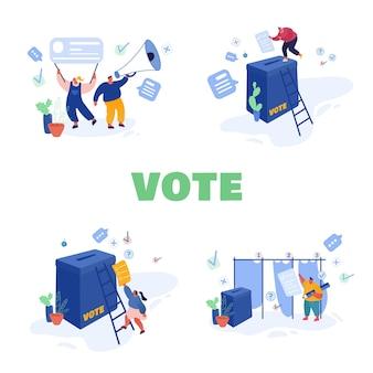 Conception de modèle de concept de vote et d'élection. campagne pré-électorale. promotion des personnages candidats. les citoyens mettent le vote papier dans les urnes des candidats.
