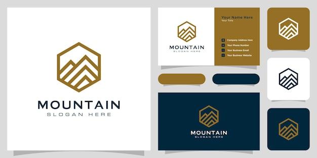 Conception de modèle de conception de logo de montagne