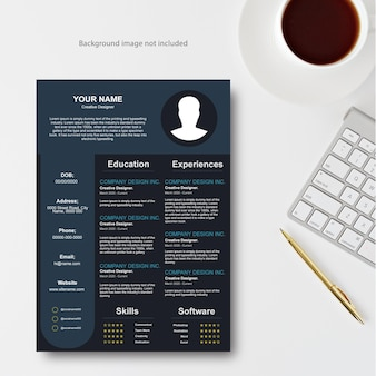 Conception de modèle de cv professionnel et illustration vectorielle de papier à en-tête