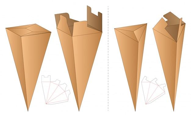 Conception de modèle découpé sous emballage. maquette 3d