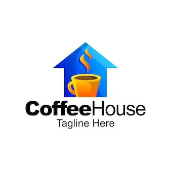 Conception de modèle de dégradé de logo de maison de café