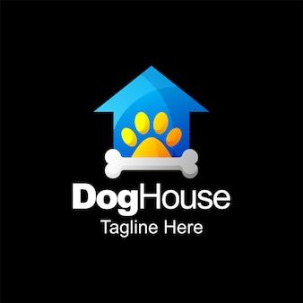 Conception de modèle de dégradé de logo de maison de chien