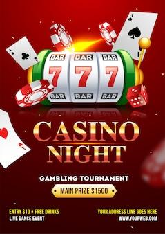 Conception de modèle ou de dépliant casino night party avec fente réaliste