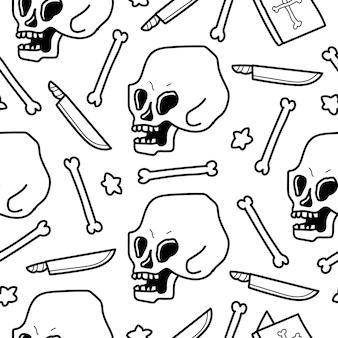 Conception de modèle de dessin animé doodle crâne dessiné à la main