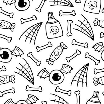 Conception de modèle de dessin animé halloween doodle dessiné à la main