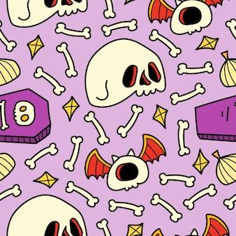 Conception de modèle de dessin animé halloween kawaii doodle dessinés à la main