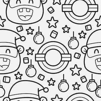 Conception de modèle de dessin animé de noël doodle