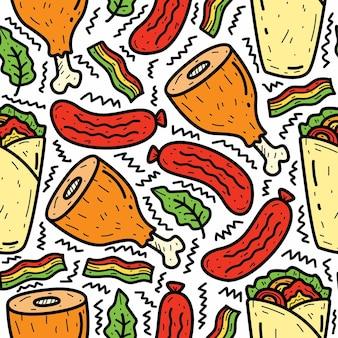 Conception de modèle de dessin animé nourriture doodle