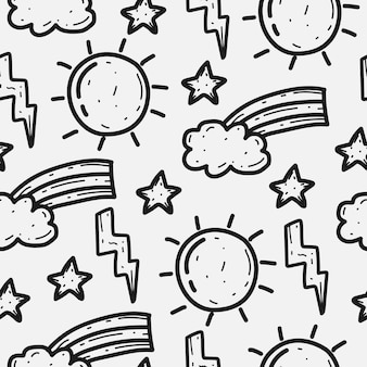 Conception de modèle de doodle arc-en-ciel de dessin animé dessiné à la main