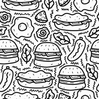 Conception de modèle de doodle de dessin animé de nourriture kawaii