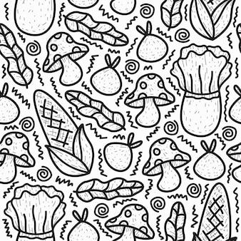 Conception de modèle de doodle de légumes de dessin animé dessiné à la main