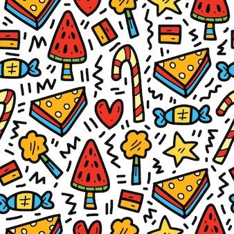 Conception de modèle de doodle de nourriture de dessin animé kawaii dessiné à la main