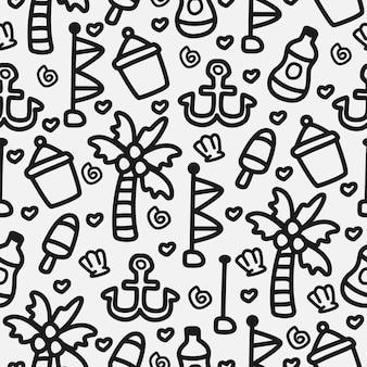 Conception de modèle de doodle plage dessin animé dessiné à la main