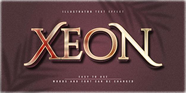 Conception de modèle d'effet de texte 3d modifiable xeon illustrator