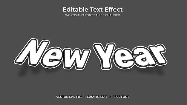 Conception de modèle d'effet de texte modifiable illustrateur nouvel an