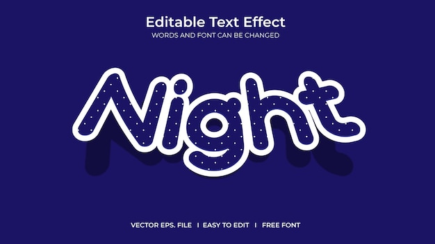 Conception de modèle d'effet de texte modifiable illustrateur de nuit