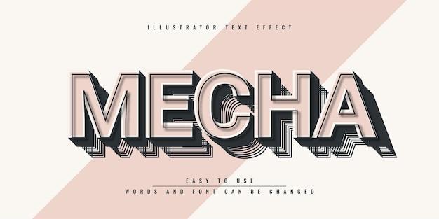 Conception de modèle d'effet de texte modifiable mecha illustrator