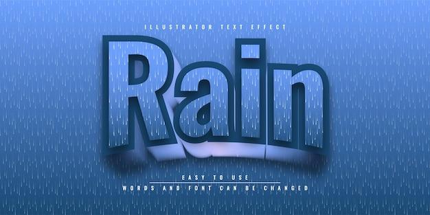 Conception de modèle d'effet de texte modifiable rain illustrator