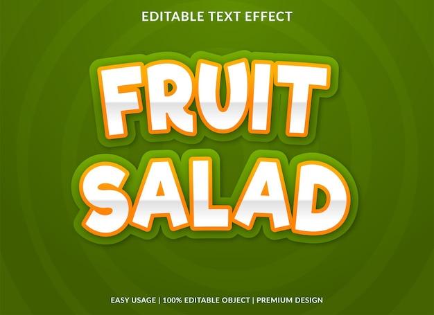 Conception de modèle d'effet de texte salade de fruits avec un style abstrait