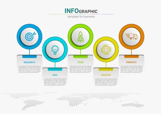 Conception de modèle d'élément d'infographie de processus métier de la chronologie des étapes