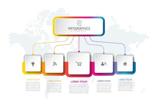 Conception de modèle d'éléments infographiques de forme carrée d'affaires
