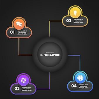 Conception de modèle d'entreprise infographique avec un modèle de quatre étapes différentes