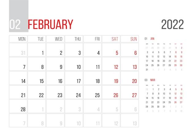 Conception de modèle d'entreprise de planificateur de calendrier 2022 le mois de février la semaine commence le lundi grille de base