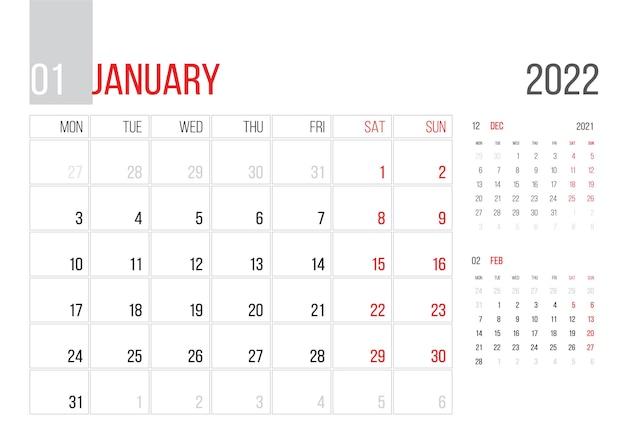 Conception de modèle d'entreprise de planificateur de calendrier 2022 le mois de janvier la semaine commence le lundi grille de base