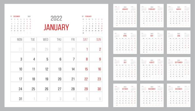Conception de modèle d'entreprise de planificateur de calendrier 2022 le mois de mars la semaine commence le lundi grille de base