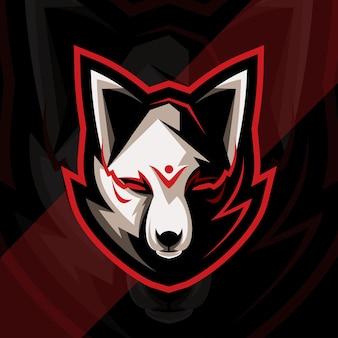 Conception de modèle d'esport de logo de mascotte de kitsune de tête