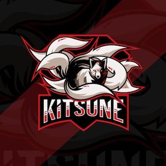Conception de modèle esport logo mascotte kitsune