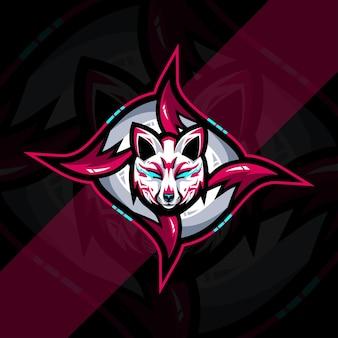 Conception de modèle d'esport de logo de mascotte de kitsune