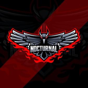 Conception De Modèle Esport Logo Mascotte Oiseau Corbeau Nocturne Vecteur Premium