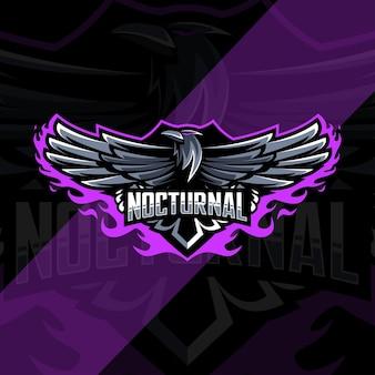 Conception de modèle esport logo mascotte oiseau corbeau nocturne