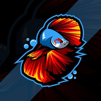 Conception de modèle esport logo mascotte poisson betta