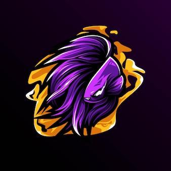 Conception de modèle esport de logo de mascotte de poisson de betta