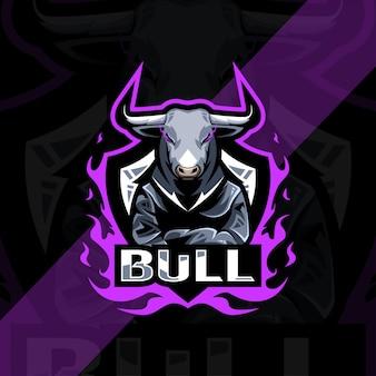 Conception de modèle esport logo mascotte taureau