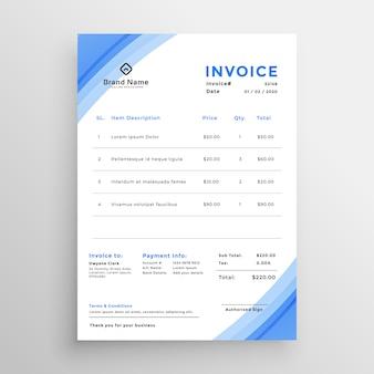 Conception de modèle de facture bleu minimal