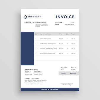 Conception de modèle de facture client bleu