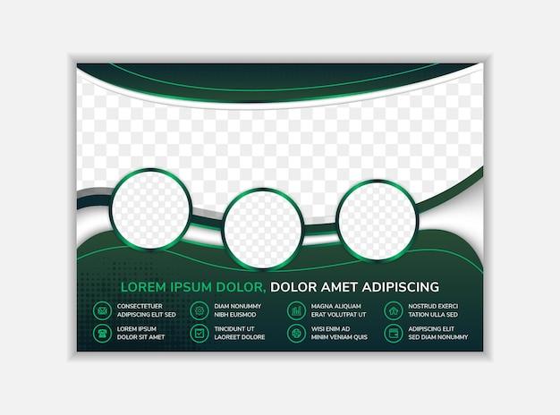 Conception de modèle de flyer abstrait avec mise en page horizontale de texte factice avec fond vert foncé