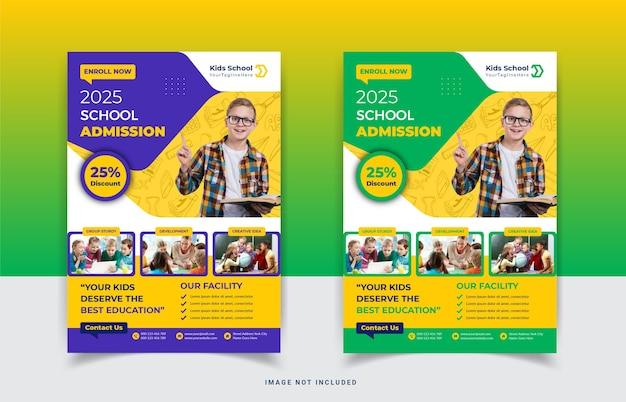 Conception de modèle de flyer d'admission à l'école pour enfants