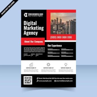 Conception de modèle de flyer d'agence de marketing numérique rouge noir